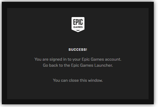 Successfully linked Epic Games account