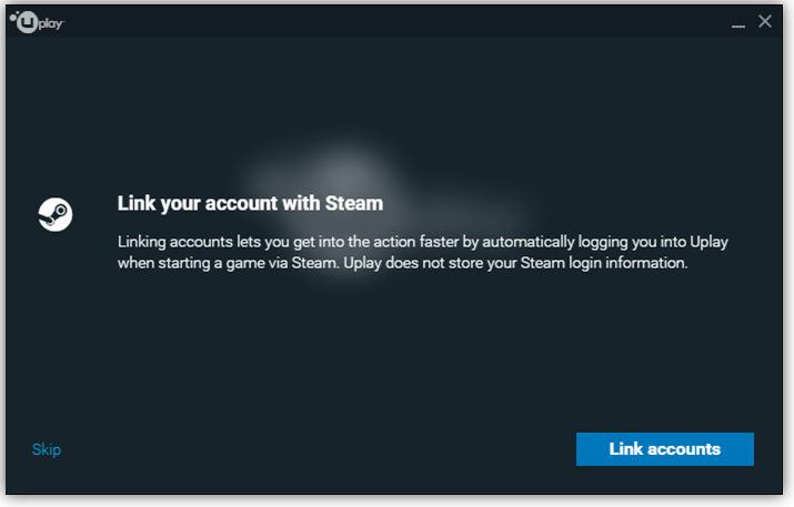 Steam linking pop-up