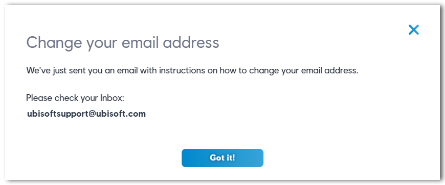 Pop up displayed when trying to update email address.