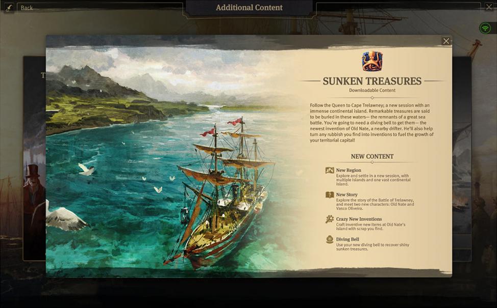 Sunken Treasures DLC in Anno 1800 Main Menu