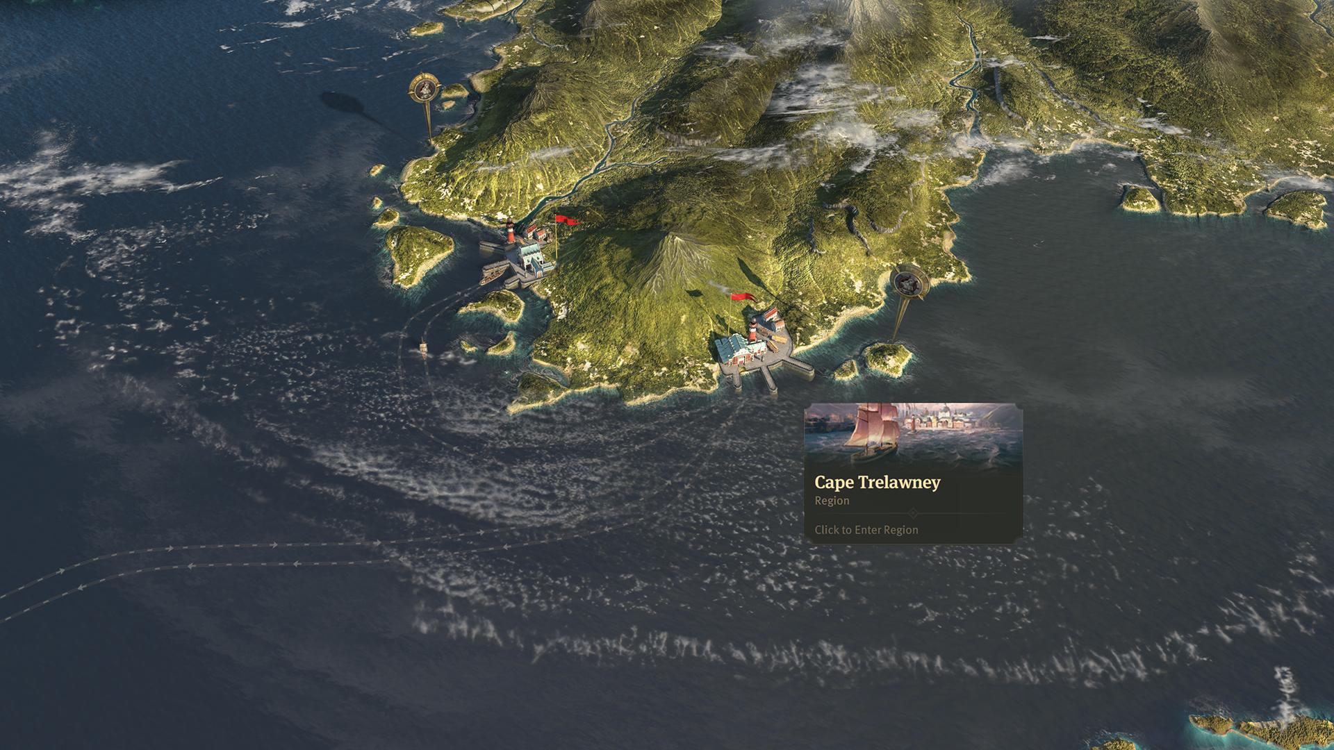 Anno 1800 Sunken Treasures Cape Trelawney on World Map