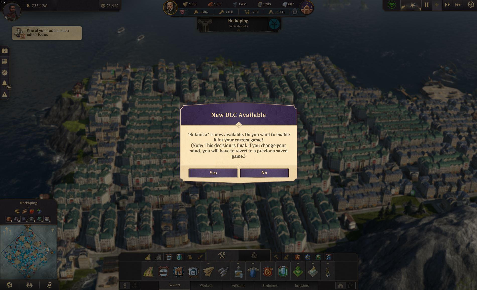 Anno 1800 Sunken Treasures DLC Import Prompt