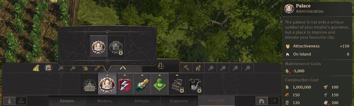 Seat of Power Building menu