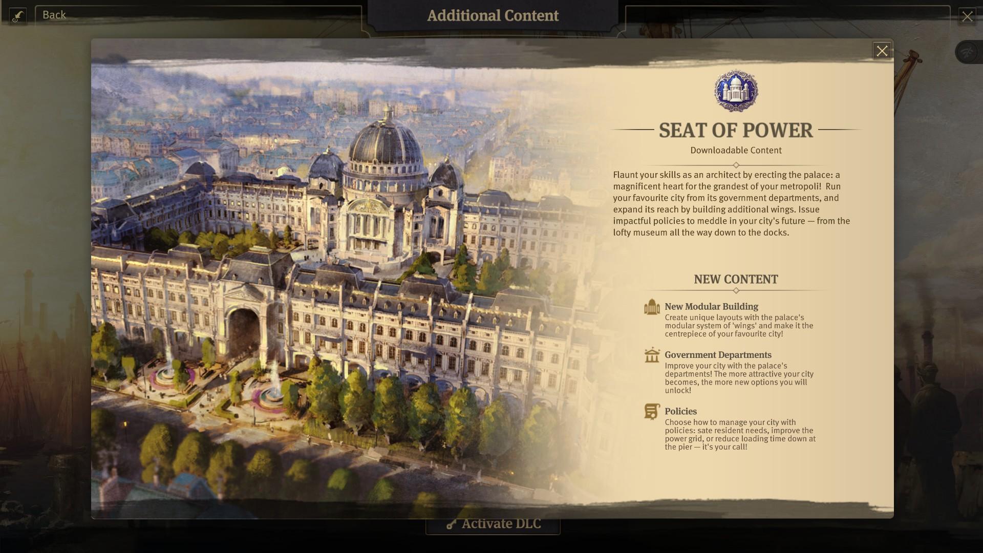 Seat of Power main menu info