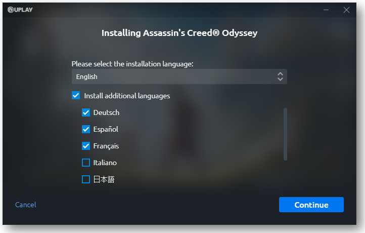 Language selection available when installing a game