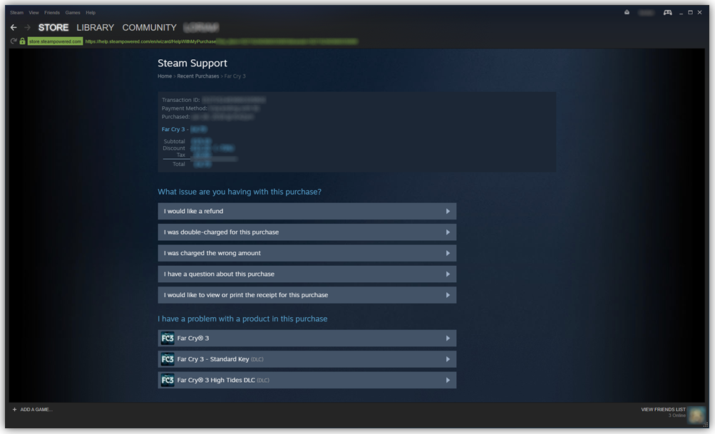Proof of purchase displayed in Steam
