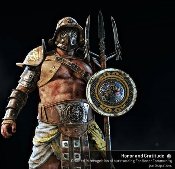 Honor and Gratitude outfit displayed on the Gladiator
