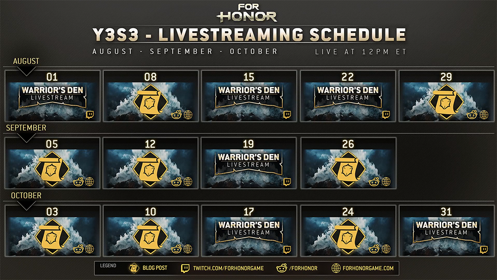 Warrior's Den stream schedule