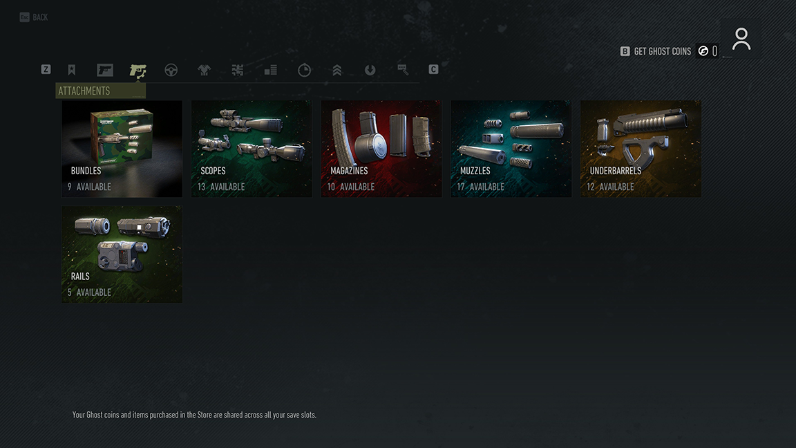 Attachments section of the in-game shop