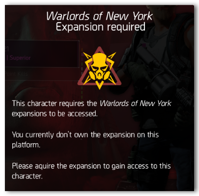 """'""""Warlords of New York Expansion"""" required' pop up"""