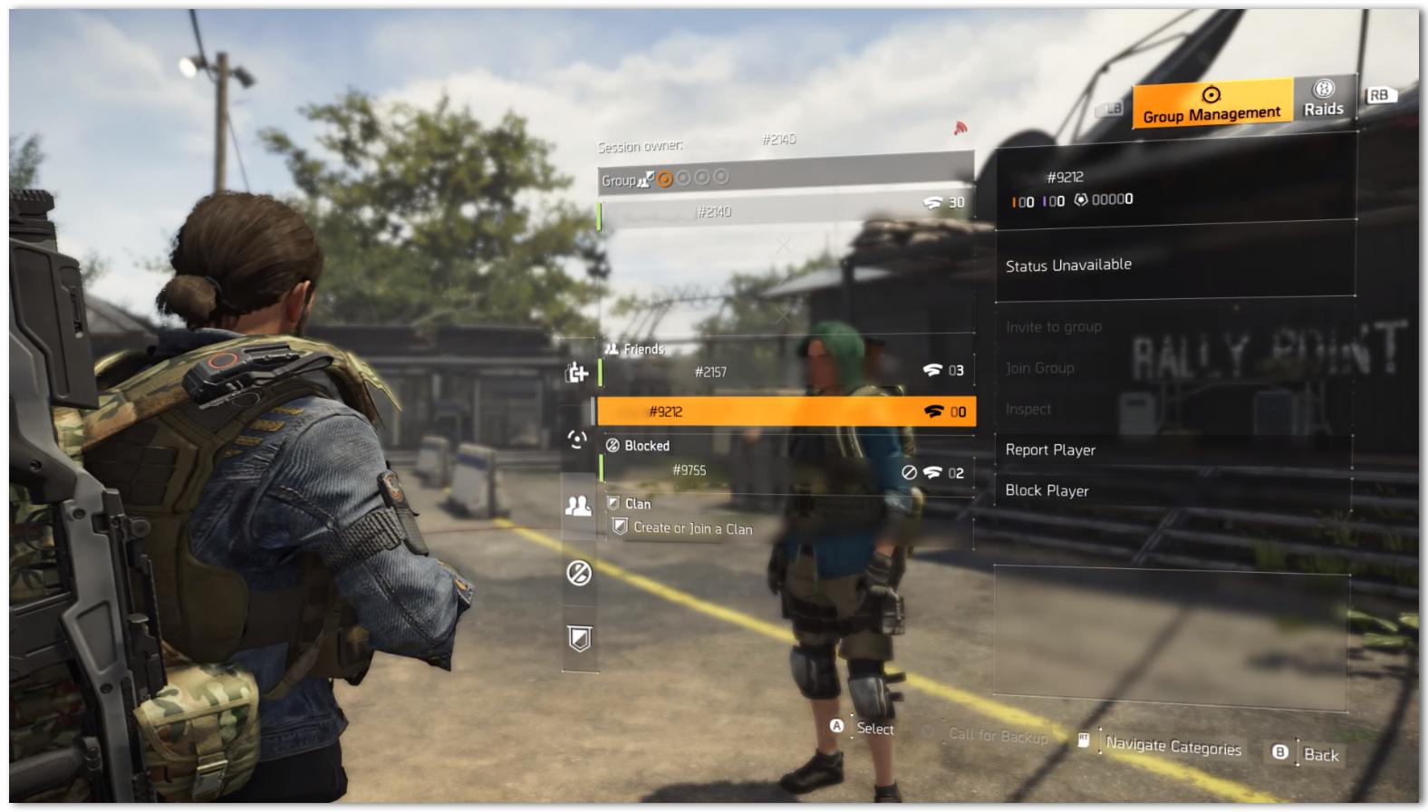 Blocking a player via the in-game menu
