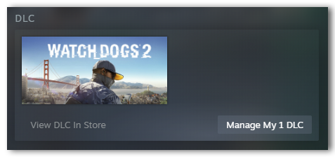 DLC displayed in Steam